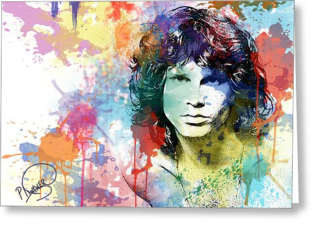 Twentieth Century Digital Art Greeting Cards - Jim Morrison Greeting Card by Patricia Lintner