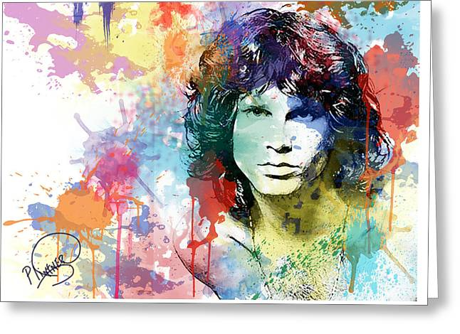 Twentieth Century Digital Greeting Cards - Jim Morrison Greeting Card by Patricia Lintner