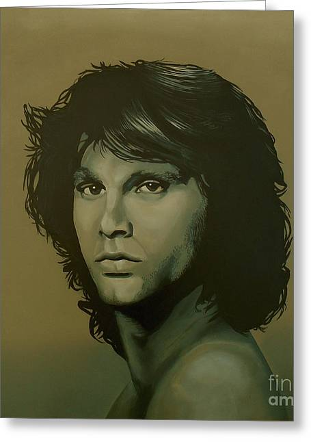 Jim Morrison Painting Greeting Card by Paul Meijering