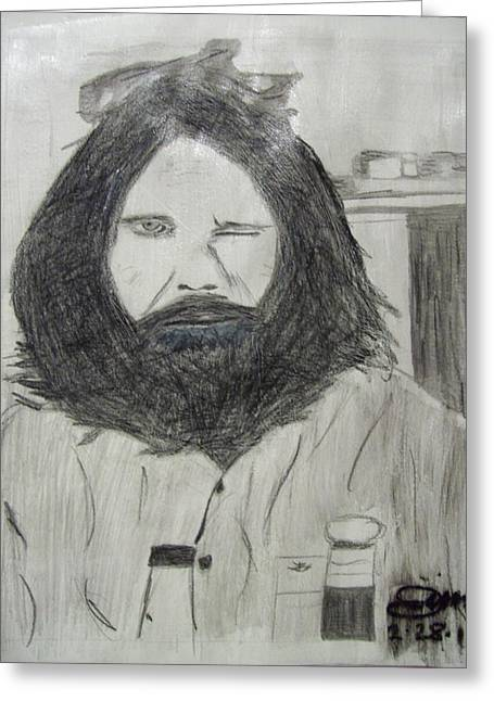 Colorful Photography Drawings Greeting Cards - Jim Morrison Pencil Greeting Card by Jimi Bush