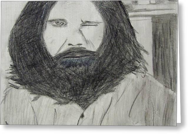 Jim Morrison Pencil Greeting Card by Jimi Bush