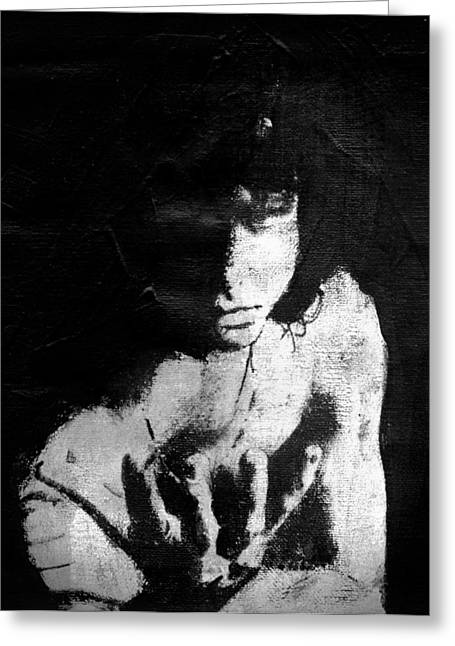 Transfer Mixed Media Greeting Cards - Jim Morrison Poet Greeting Card by Ralph Cameron