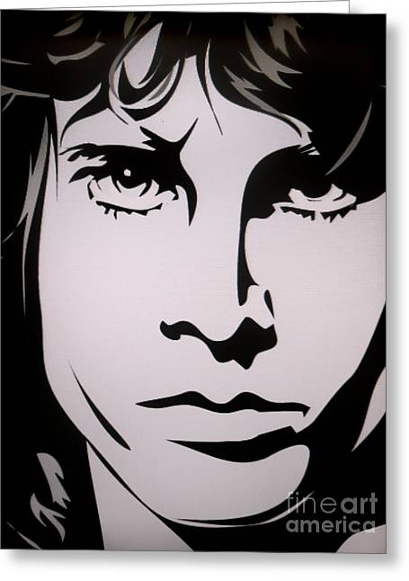 Eyebrow Greeting Cards - Jim Morrison  Greeting Card by Ryszard Sleczka