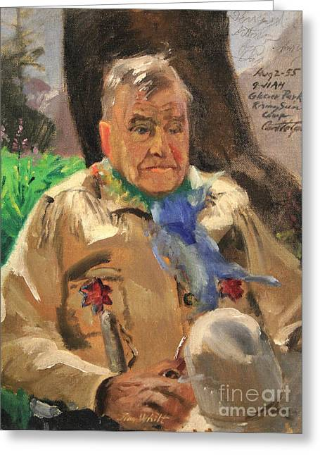 1950s Portraits Paintings Greeting Cards - Jim Wilt - Mountain Poet Greeting Card by Art By Tolpo Collection