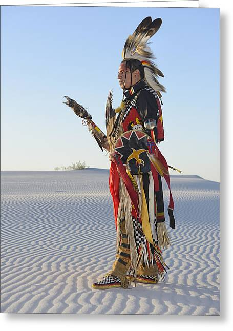 Sand Man Greeting Cards - Jim Yellowhawk Greeting Card by Christian Heeb