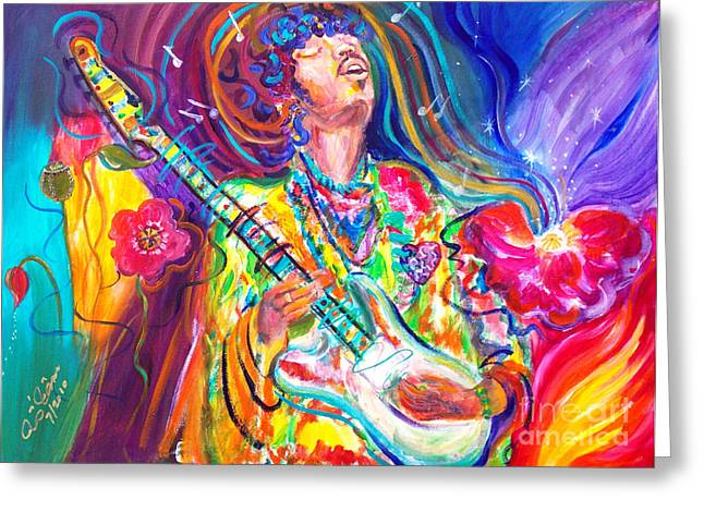 Us Rock And Roll Hall Of Fame Greeting Cards - Jimi 1 Greeting Card by To-Tam Gerwe