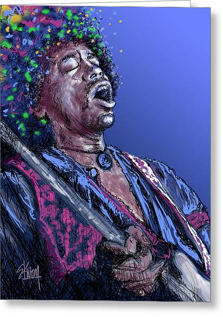Most Influential Musician Greeting Cards - Jimi 3 Greeting Card by Stan Kwong