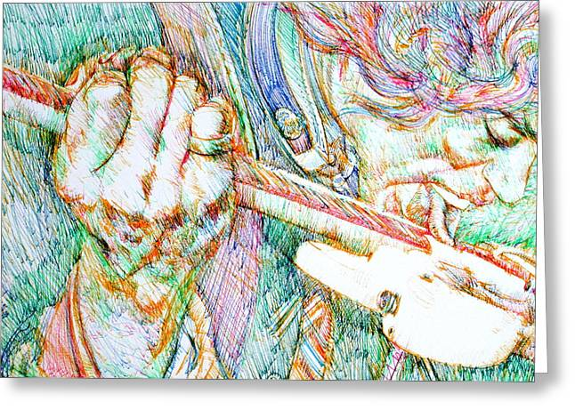 Jimi Hendrix Drawings Greeting Cards - JIMI and his GUITAR Greeting Card by Fabrizio Cassetta