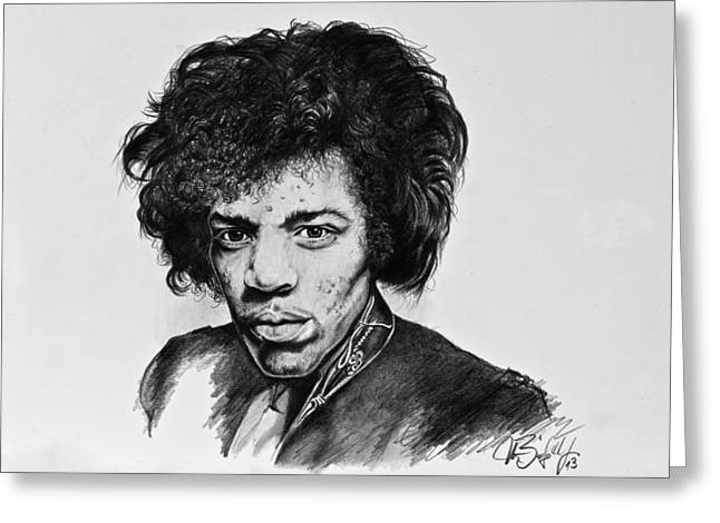Stratocaster Drawings Greeting Cards - Jimi Greeting Card by Art Imago