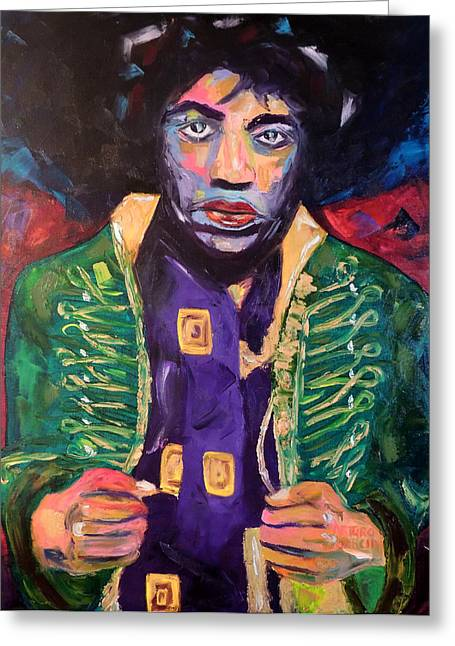 Denver Artist Greeting Cards - Jimi Greeting Card by Arturo Garcia