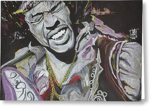 Flames Pastels Greeting Cards - Jimi Greeting Card by DMo Herr