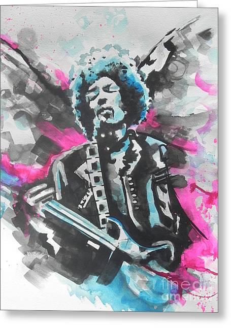 Angel Blues Greeting Cards - Jimi Hendrix  01 Greeting Card by Chrisann Ellis