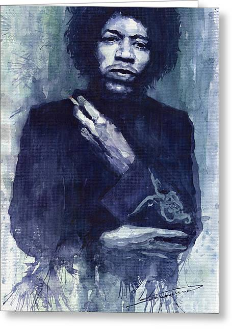 Jimi Hendrix Paintings Greeting Cards - Jimi Hendrix 01 Greeting Card by Yuriy  Shevchuk