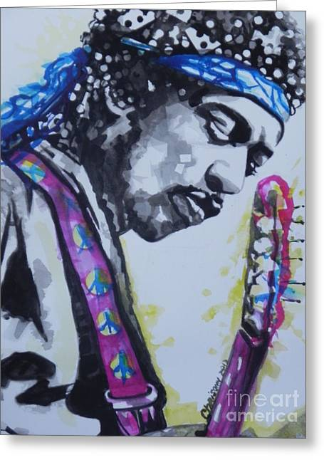 Famous Artist Greeting Cards - Jimi Hendrix  02 Greeting Card by Chrisann Ellis