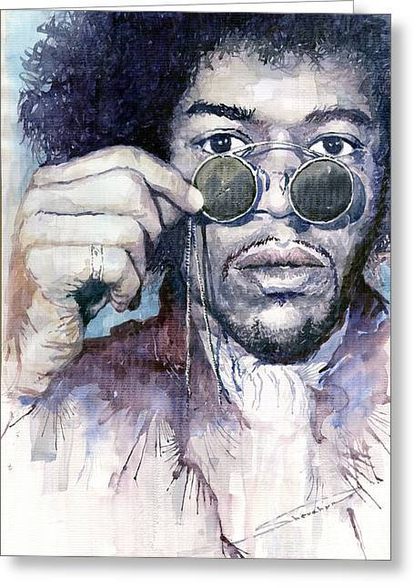 Jimi Hendrix Paintings Greeting Cards - Jimi Hendrix 08 Greeting Card by Yuriy  Shevchuk