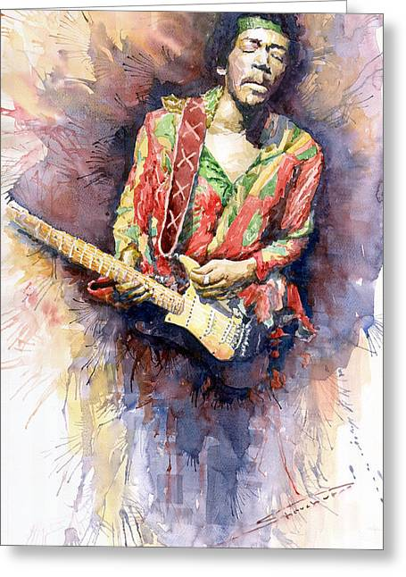 Jimi Hendrix Paintings Greeting Cards - Jimi Hendrix 09 Greeting Card by Yuriy  Shevchuk