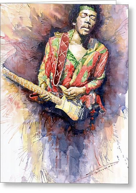 Jimi Hendrix 09 Greeting Card by Yuriy  Shevchuk