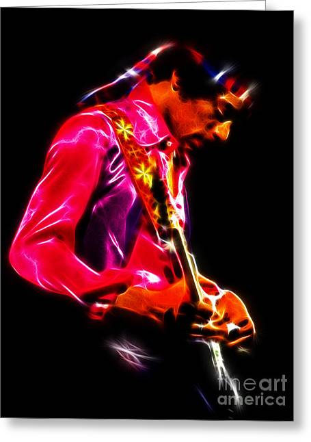 Voodoo Chile Greeting Cards - Jimi Hendrix 1 Greeting Card by Paul Green
