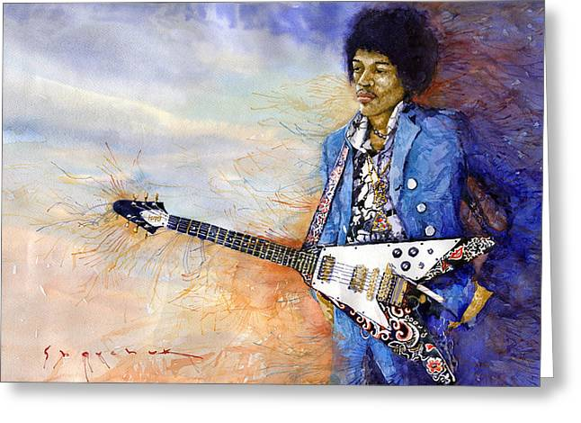 Jimi Hendrix Paintings Greeting Cards - Jimi Hendrix 10 Greeting Card by Yuriy Shevchuk