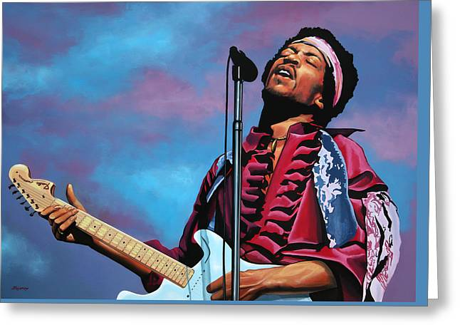 Flames Paintings Greeting Cards - Jimi Hendrix 2 Greeting Card by Paul  Meijering
