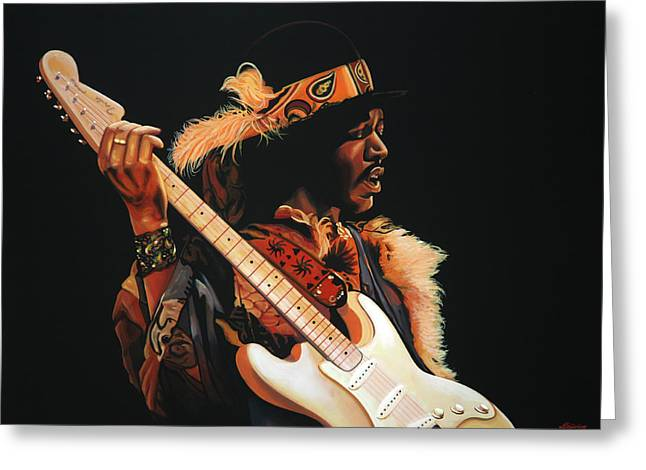 Jimi Hendrix Paintings Greeting Cards - Jimi Hendrix 3 Greeting Card by Paul  Meijering