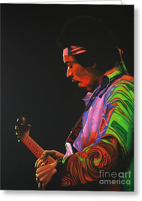 Jimi Hendrix Paintings Greeting Cards - Jimi Hendrix 4 Greeting Card by Paul  Meijering