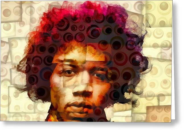 Haze Mixed Media Greeting Cards - Jimi Hendrix Abstract Cubism Greeting Card by Dan Sproul