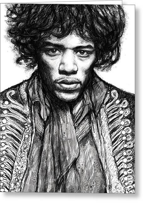 Jimi Hendrix Drawings Greeting Cards - Jimi Hendrix art drawing sketch portrait Greeting Card by Kim Wang