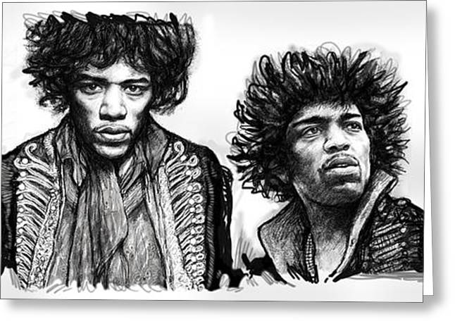 Popular Music Greeting Cards - Jimi Hendrix art drawing sketch poster  Greeting Card by Kim Wang