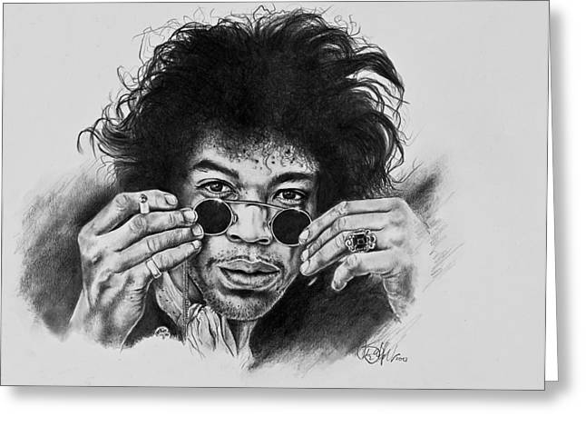 Stratocaster Drawings Greeting Cards - Jimi Hendrix Greeting Card by Art Imago
