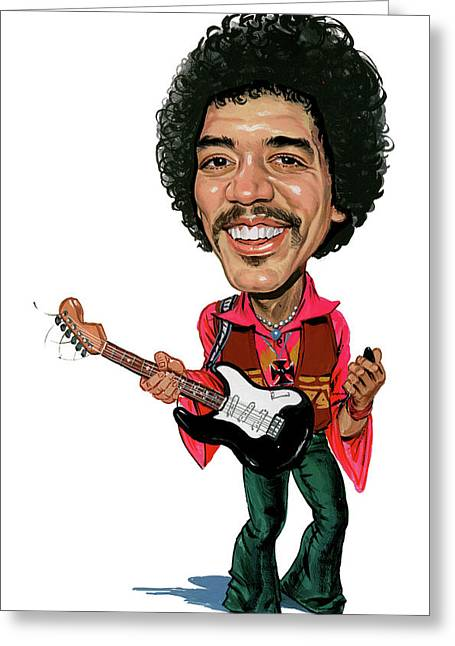 Person Greeting Cards - Jimi Hendrix Greeting Card by Art