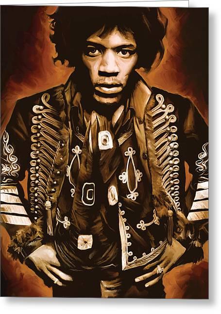Jimi Hendrix Artwork Greeting Card by Sheraz A