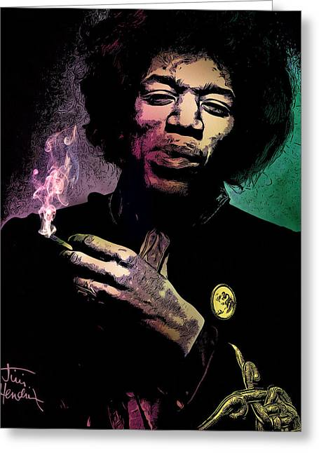 Jimmie Greeting Cards - Jimi Hendrix Greeting Card by - BaluX -