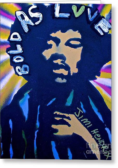 Free Speech Greeting Cards - Jimi Hendrix BOLD AS LOVE Paint Blast Greeting Card by Tony B Conscious