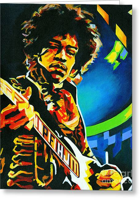 Greatest Guitarists Of All Time Greeting Cards - Jimi Hendrix  Greeting Card by Tanya Filichkin