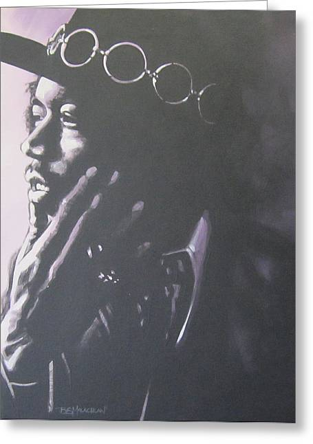 All Along The Watchtower Greeting Cards - Jimi Hendrix Greeting Card by Bruce McLachlan