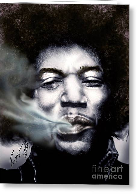 Eyes Paintings Greeting Cards - Jimi Hendrix-Burning Lights-2 Greeting Card by Reggie Duffie