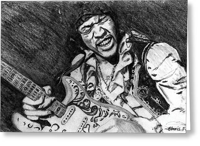Jimi Hendrix Drawings Greeting Cards - Jimi Hendrix Greeting Card by Chris Fader