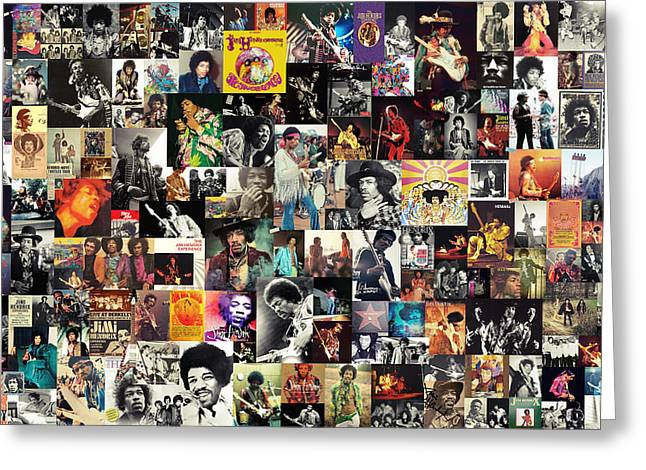 Johnny Allen Hendrix Greeting Cards - Jimi Hendrix Collage Greeting Card by Taylan Soyturk