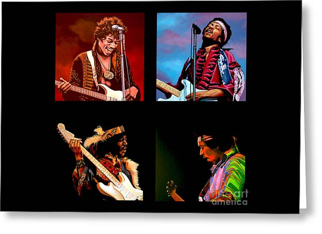 Jimi Hendrix Paintings Greeting Cards - Jimi Hendrix Collection Greeting Card by Paul  Meijering
