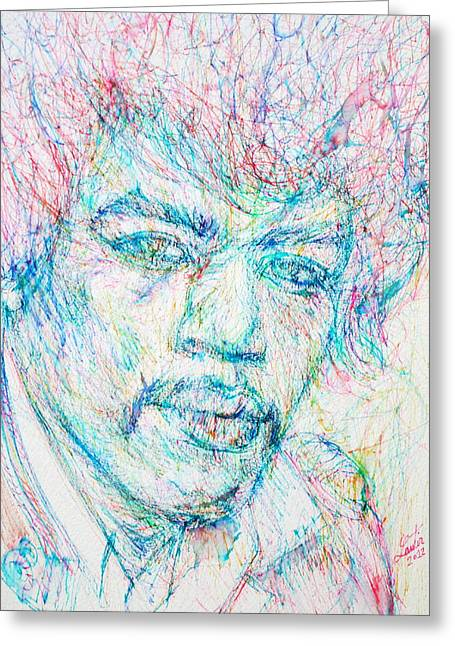 Jimi Hendrix Drawings Greeting Cards - JIMI HENDRIX - colored pens portrait Greeting Card by Fabrizio Cassetta