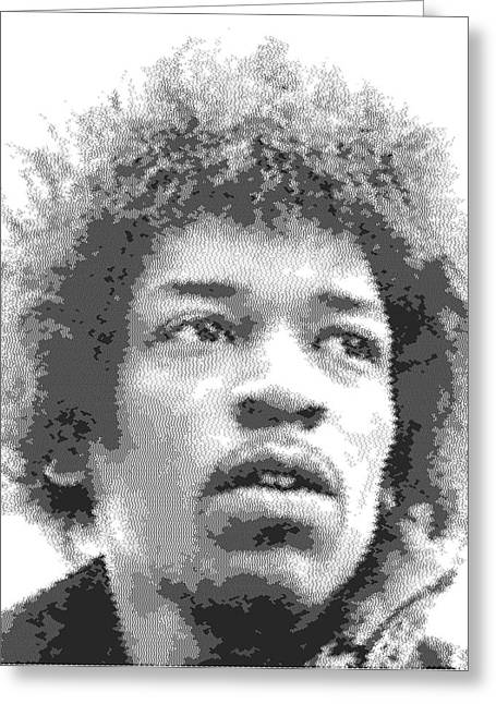 Jimi Hendrix Drawings Greeting Cards - Jimi Hendrix - Cross Hatching Greeting Card by Samuel Majcen