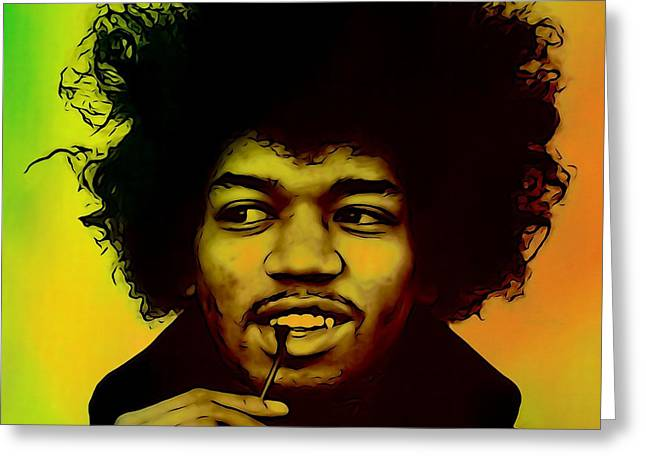 Haze Mixed Media Greeting Cards - Jimi Hendrix  Greeting Card by Dan Sproul