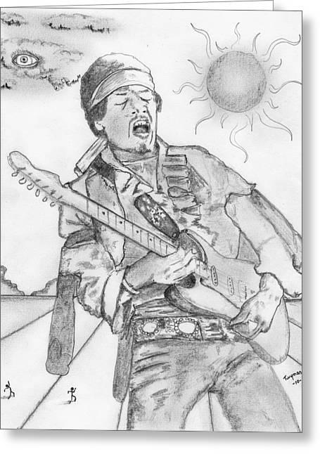 Vodoo Greeting Cards - Jimi Hendrix Greeting Card by Dan Twyman