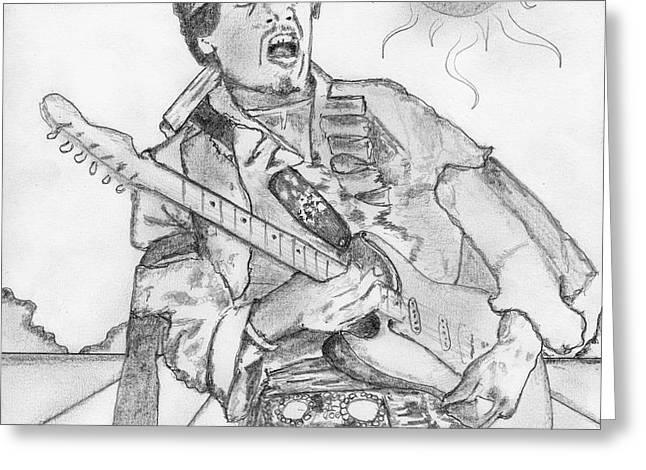 Jimi Hendrix Greeting Card by Dan Twyman