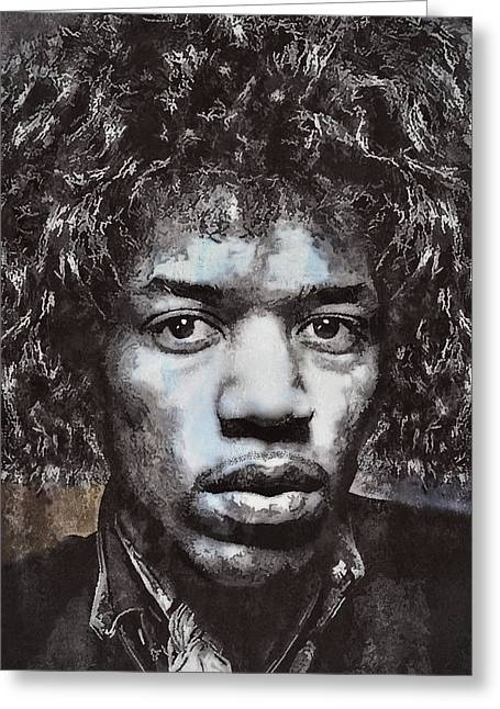 Black Man Digital Art Greeting Cards - Jimi Hendrix Greeting Card by Daniel Hagerman