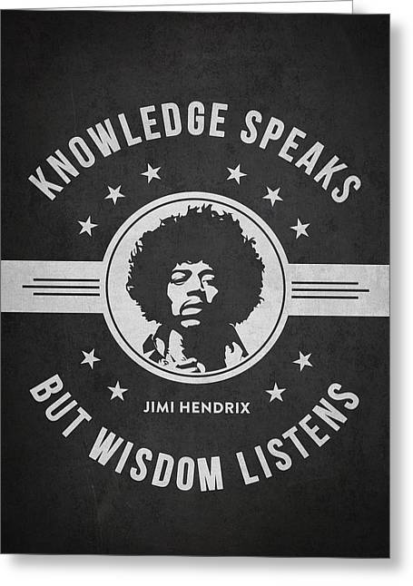Singer Songwriter Greeting Cards - Jimi Hendrix - Dark Greeting Card by Aged Pixel