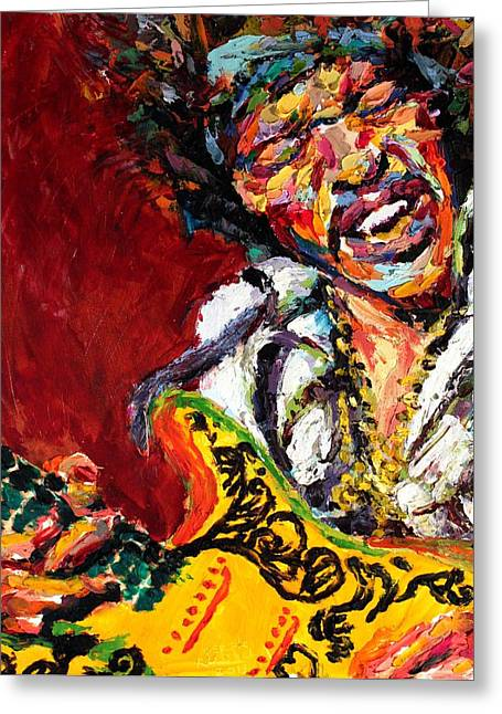 All Along The Watchtower Greeting Cards - Jimi Hendrix Greeting Card by Derek Russell