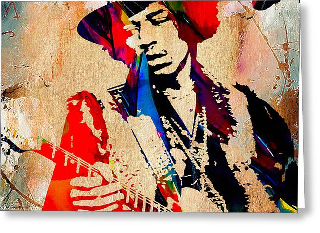 Psychedilic Greeting Cards - Jimi Hendrix Duvet Cover Greeting Card by Marvin Blaine