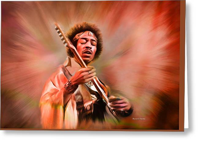 Jimi Hendrix Electrifying Guitar Play Greeting Card by Angela A Stanton